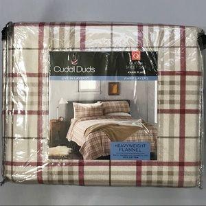 Cuddl Duds Queen Cotton Flannel Plaid Sheet Set